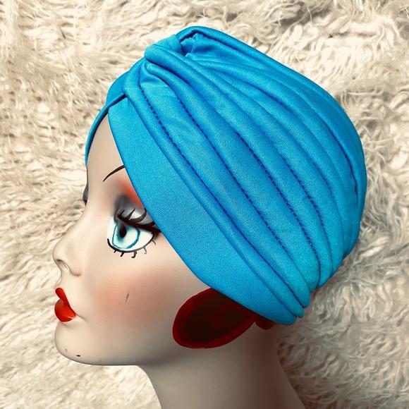 Stunning Turquoise vintage, retro pinup turban hat